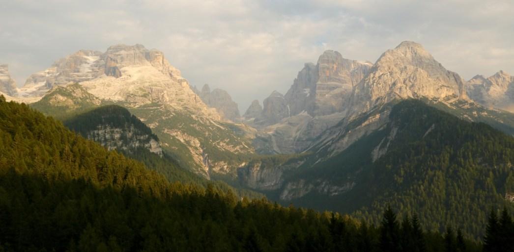 Brenta range in the Dolomites at sunset