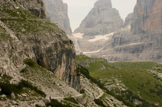 Continuing the hike, this is the trail to the farther Rifugio Brent. I nominate for Best Chapel Placement Award