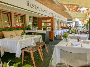 There's a more casual bistro at the front of the hotel for everyday dining. With a fantastic terrace facing the busy walking street.