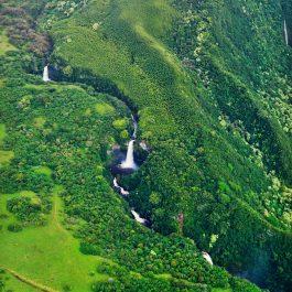 Flying over Hana waterfalls