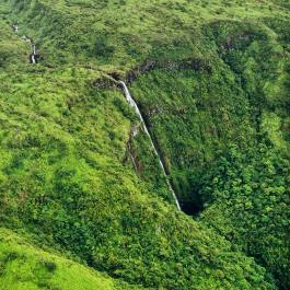 Flying over Hana waterfalls