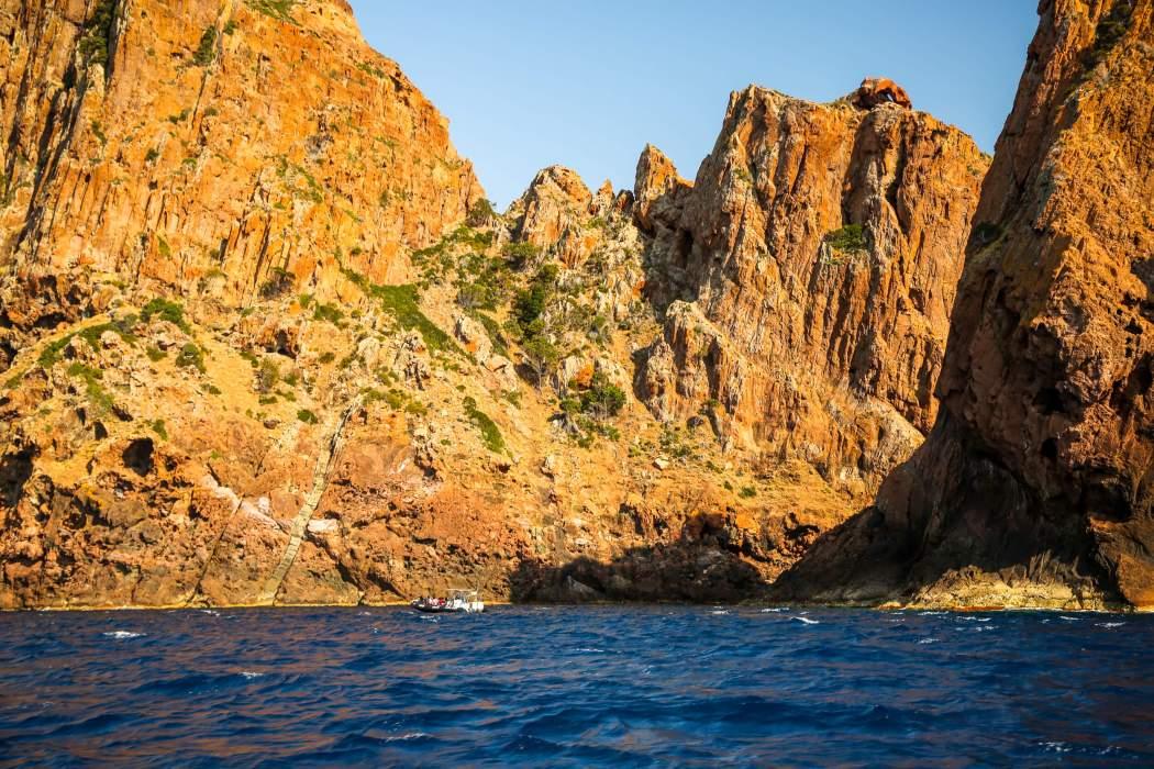 Boat in Scandola Nature Reserve Corsica