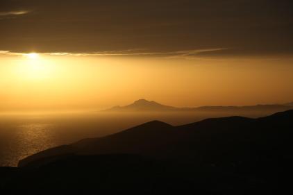 Church of Panagia in Chora, Folegandros sunset view