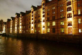 Speicherstadt warehouses at night