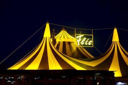 Flic Flac tent at night