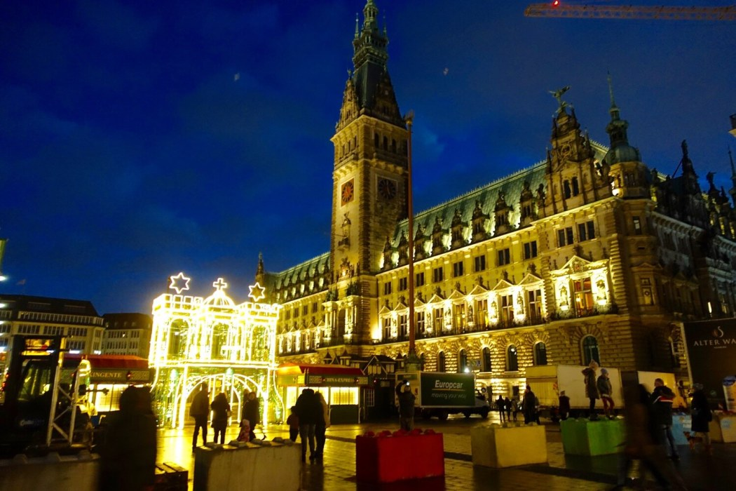 Rathaus Hamburg Christmas lights