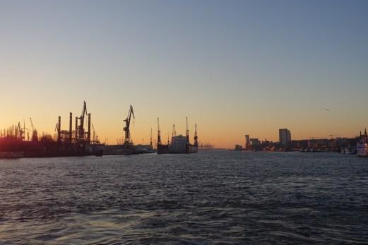 River Elbe cranes at sunset