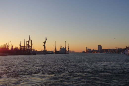River Elbe cranes at sunset