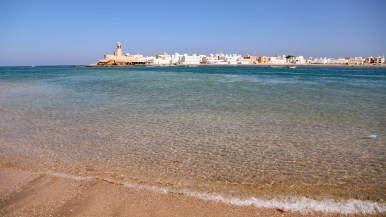 The water, like everything in Oman, is crystal clear.