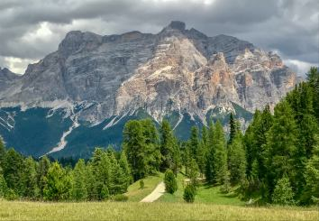 After tromping around on the plateau, you can head off toward the Alta Badia valley, slowly descending into the trees.