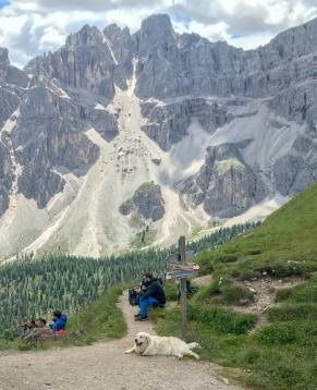 The perfect resting spot. Right below the Forcella del Medagles pass to the other valley