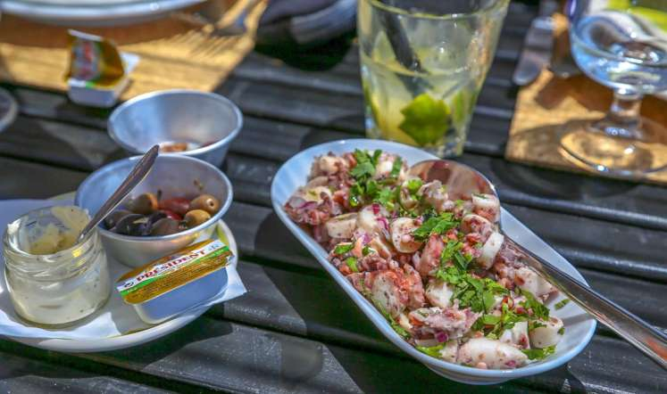 Fresh octopus salad, caipirinhas and Spritzes in the flickering shade... good lord....