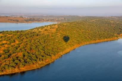 Balloon shadow Alqueva Reservoir