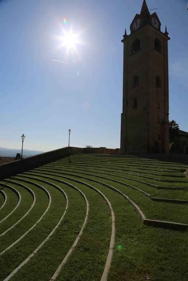 Monforte d'Alba theater in sun
