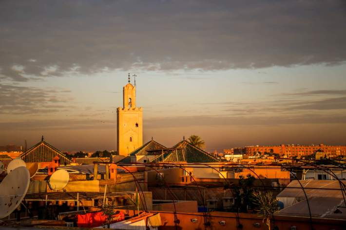Riad 72 view of mosque sunset