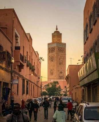 tower on street Marrakesh