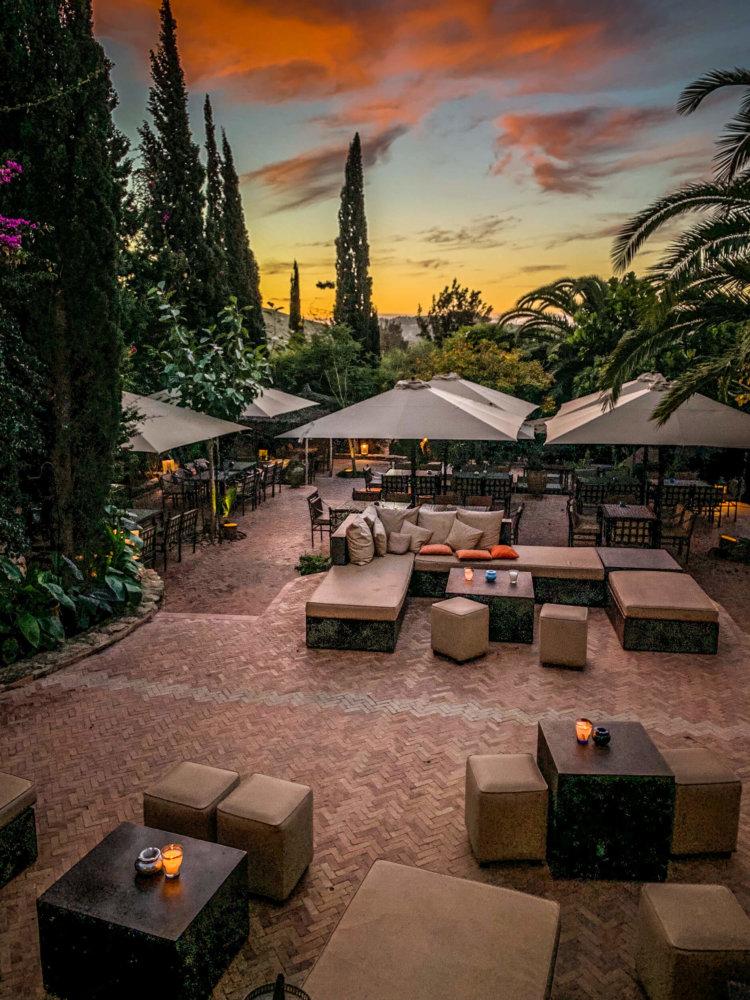 Le Jardin des Douars terrace sunset
