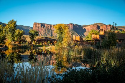 Gateway Canyons rooms by pond