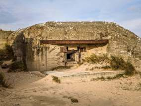 All of these bunkers were leashed on from battleships far out at sea, huge shells bouncing off their thick concrete backs.