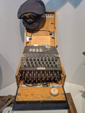 The famed captured Enigma machine that helped us break German code and listen in to their plans. This one instrument probably won us the war more than any other device.