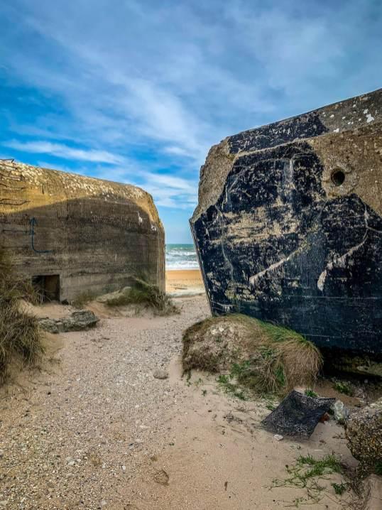 Utah Beach bunkers and blue sky