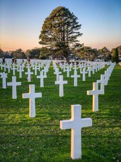 Normandy American Cemetery sunset on crosses