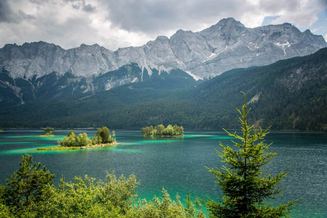 Eibsee islands in lake