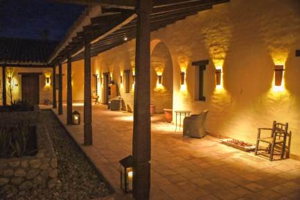 Estancia Colomé walkway at night
