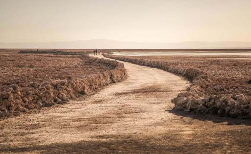 trail through Salar de Atacama