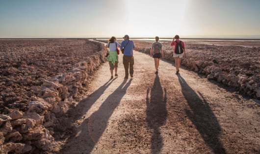 hiking through Salar de Atacama