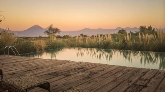 sunset pool view Tierra Atacama