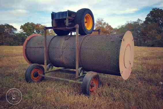 The big tumbling composter on the farm. It was hand made by a local friend.
