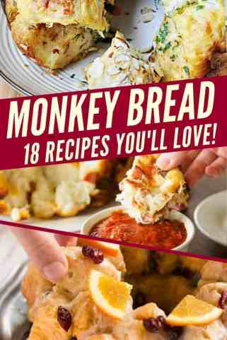 Monkey Bread - 18 recipes you'll love! text overlay collage of monkey breads