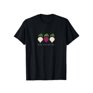 Grow your own way black shirt with turnip and beet