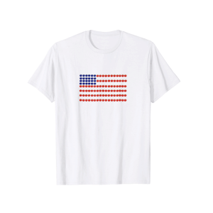 American flag made from tomatoes on white t-shirt