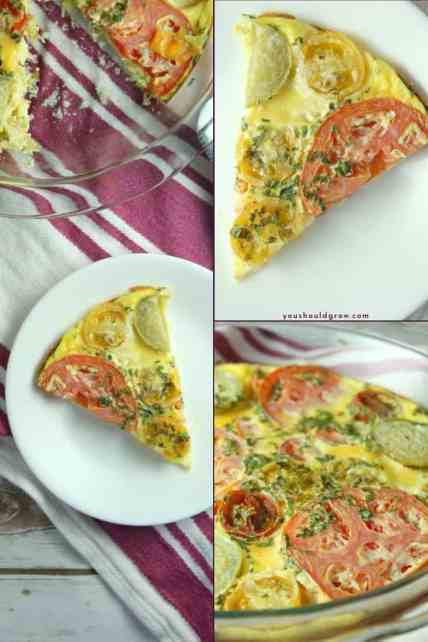 images of baked tomato and basil frittata in a collage