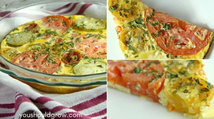 collage of baked tomato and basil frittata