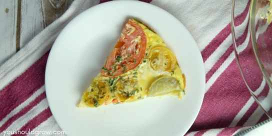 slice of tomato and basil frittata on a white plate