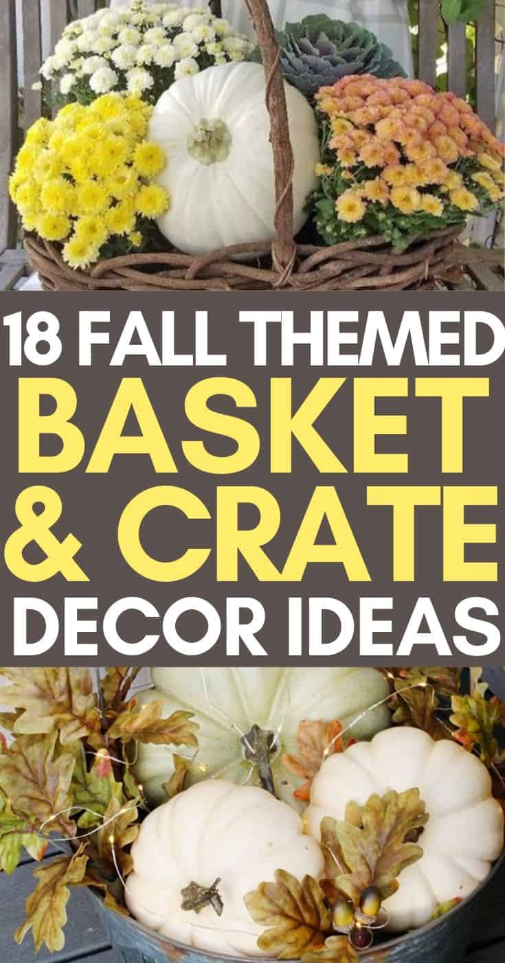 Fall porch and decorating ideas that use baskets and crates. We use baskets and crates for harvesting our vegetables all the time. Now that its fall, we can use them to decorate. Check out these ideas!