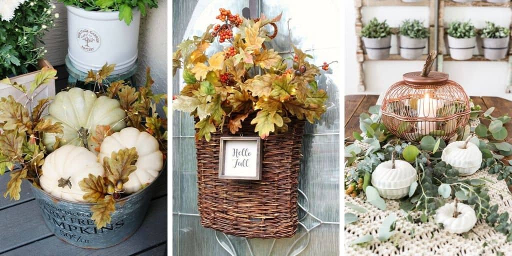 Fall decorating basket ideas collage 1