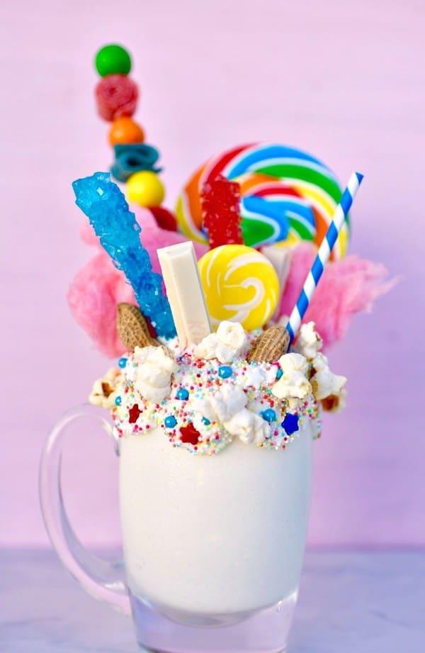 Extreme milkshake freak shake topped with colorful candy