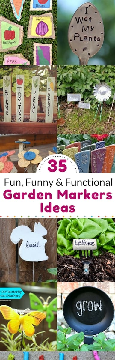 Garden markers: ideas to diy or buy. Fun and funny garden signs, plant tags, plant markers.