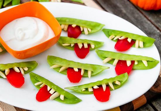 healthy halloween goblin grins snack