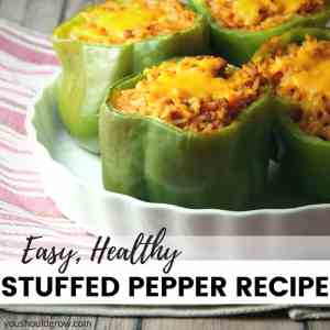 Stuffed green bell peppers with ground turkey, rice and cheese.