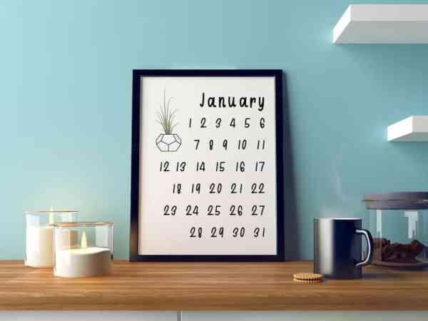 funky houseplants wall calendar printable desk office calendar