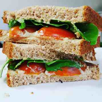 Tomato sandwich with lettuce and hummus