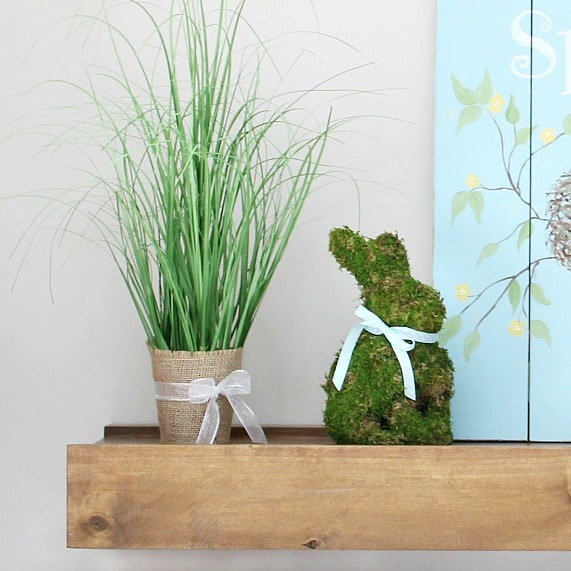 Spring Easter decorating idea: moss covered bunny form.