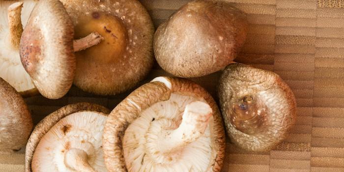 shitake mushrooms on cutting board