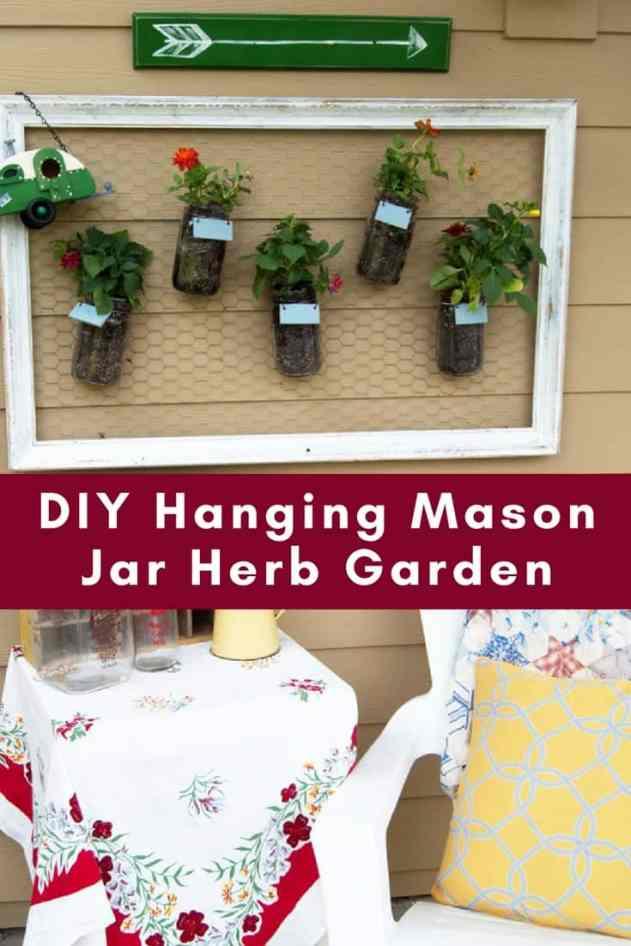 diy vertical garden using mason jars