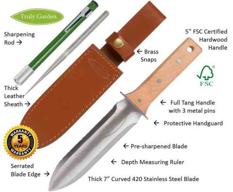 Gifts for gardeners: the hori hori knife is an extremely useful tool for gardeners.